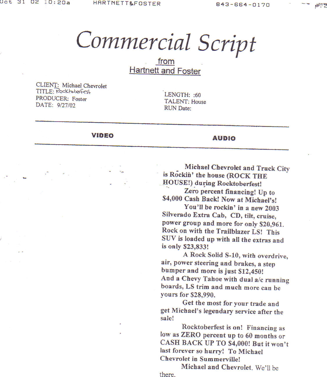 tv commercial script template - untitled document